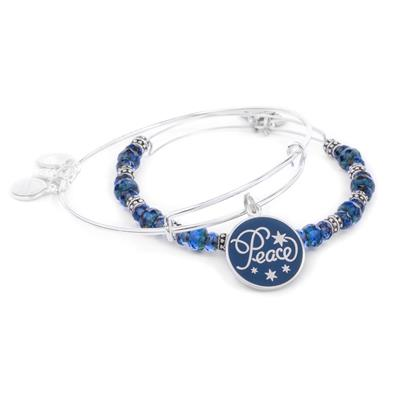 Buy Alex and Ani Peace Navy Colour Infusion Set in Shiny Silver