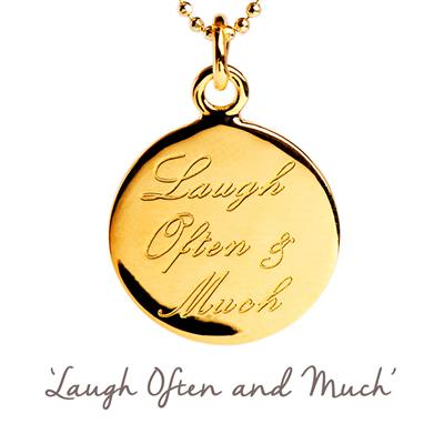 Buy Laugh Often and Much Mantra Necklace in Gold