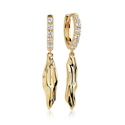 Buy Sif Jakobs Gold Vulcanello Lungo Drop Earrings with White CZ