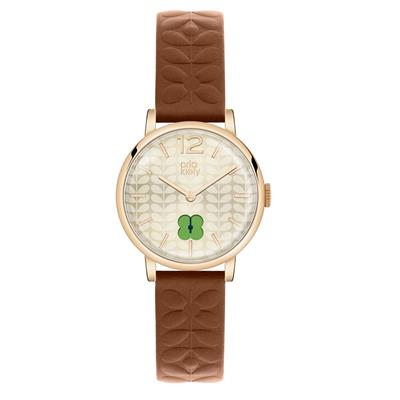 Buy Orla Kiely Frankie Leather Watch, Tan and Cream