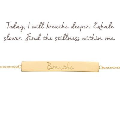 Buy Mantra Breathe Bar Bracelet in Gold