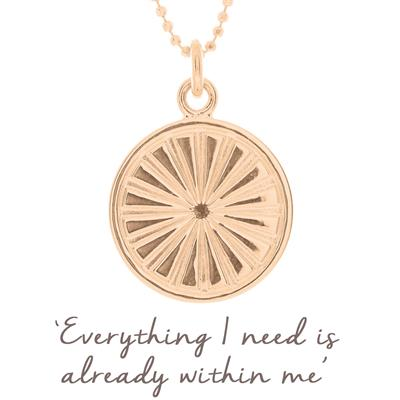 Buy Mantra Sun Rays Disc Necklace in Rose Gold