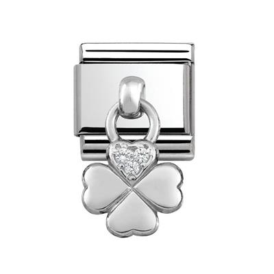 Buy Nomination Silver Hanging Four-Leafed Clover Charm with CZ Embellishment