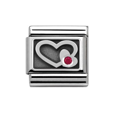 Buy Nomination Silvershine Heart with Red CZ Charm