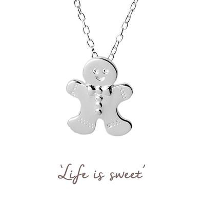 Buy Gingerbread Man Mantra Necklace in Silver