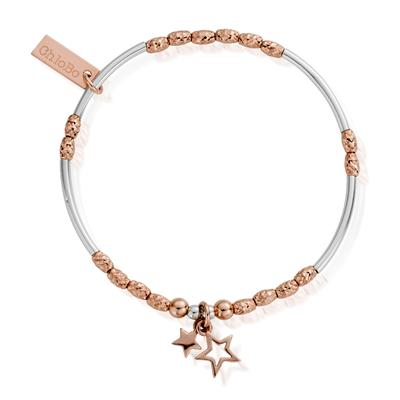 Buy ChloBo Rose Gold Silver Double Star Bracelet