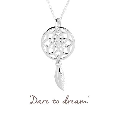Buy Dreamcatcher Mantra Necklace in Silver