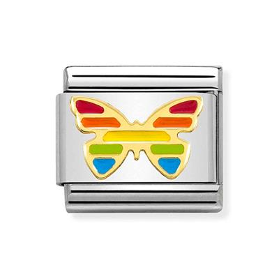 Buy Nomination Gold & Enamel Rainbow Butterfly Charm