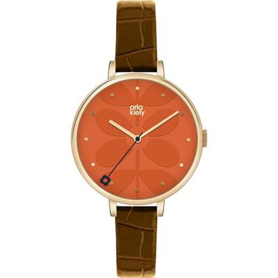 Buy Orla Kiely Ivy Brown Leather Strap Watch
