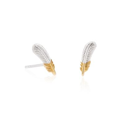 Buy Daisy Gold Silver Feather Studs