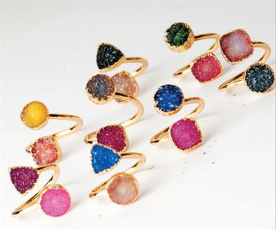 Buy Druzy Two Tone Open Ended Ring
