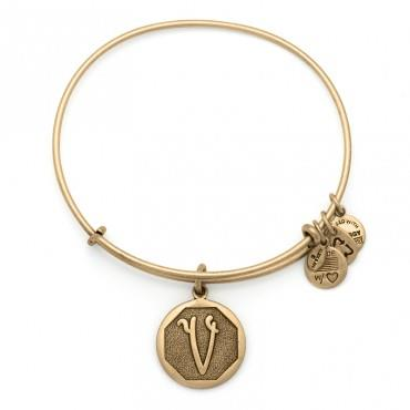 Buy Alex and Ani V Initial Bangle in Rafaelian Gold
