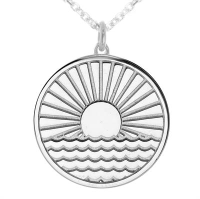 Buy MyMantra Sun Rising Over Water myMantra Necklace in Sterling Silver
