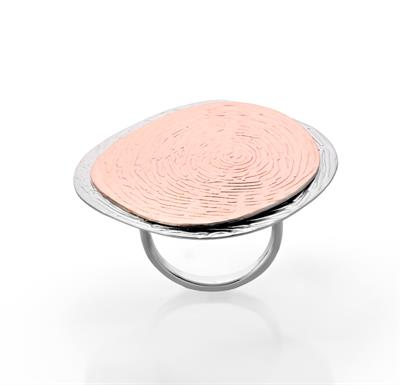 Buy JORGE REVILLA Silver Rose Gold Huella Ring -M
