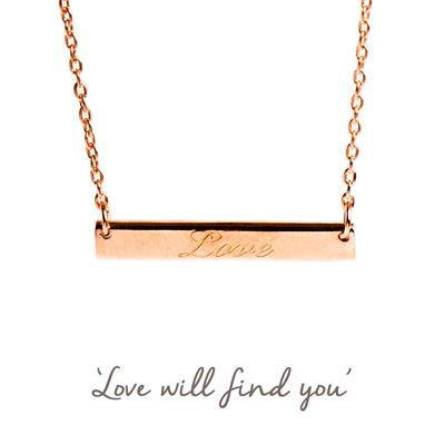 Buy Love Mantra Bar Necklace in Rose Gold