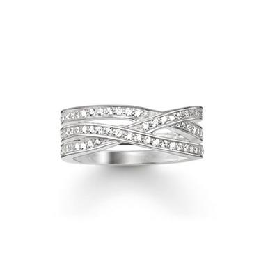 Buy Thomas Sabo Wide CZ Waves Ring Sterling Silver Size 50