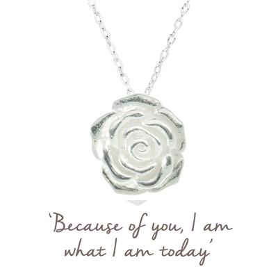 Buy Rose Mantra Necklace in Silver