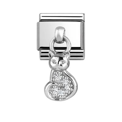 Buy Nomination Hanging Silver CZ Cat