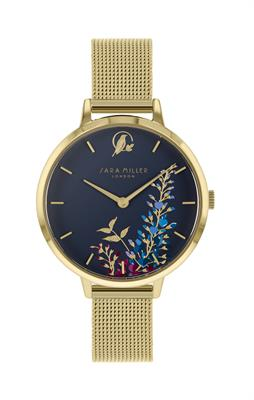 Buy Sara Miller Wisteria Watch, Gold Mesh and Navy