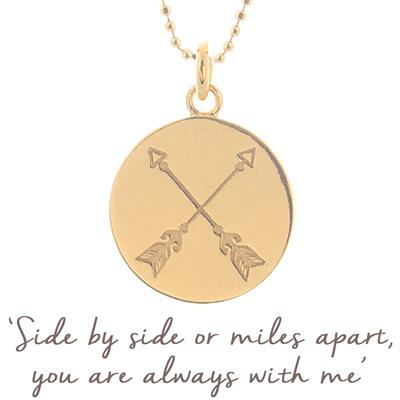 Buy Mantra Friendship Arrow Necklace in Gold