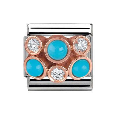 Buy Nomination Rose Gold, CZ & Turquoise Cluster