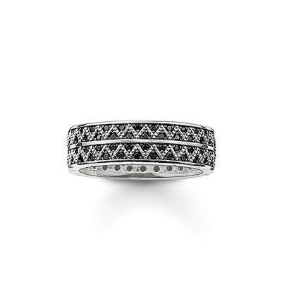 Buy Thomas Sabo Zig Zag Black and Silver Ring Size 54