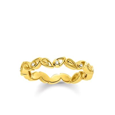 Buy Thomas Sabo Gold Diamond Leaves Ring 52