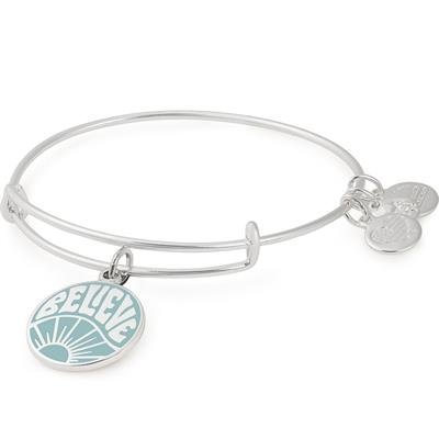 Buy Alex and Ani Believe Colour Infusion bangle in Shiny Silver