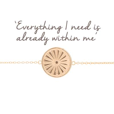 Buy Mantra Sun Rays Disc Bracelet in Rose Gold