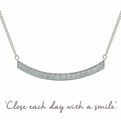 Buy Smile CZ Mantra Necklace in Silver