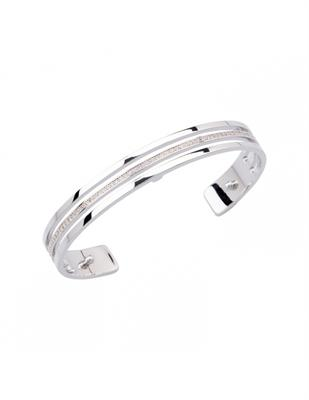 Buy Les Georgettes Thin Silver CZ Parallel Cuff