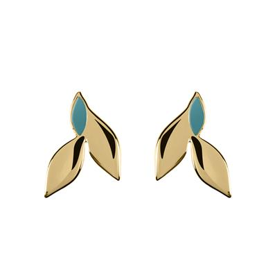 Buy Sara Miller Yellow Gold Teal Enamel Leaf Studs