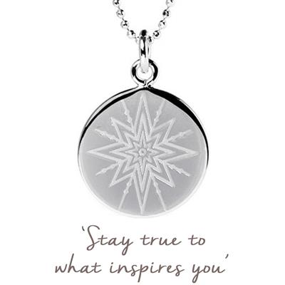 Buy Mantra Inspiring Star Disc Necklace in Sterling Silver