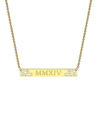 Buy me.mi Elaborate Bar Necklace in Yellow Gold