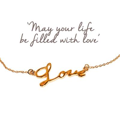 Buy Mantra Love Script Bracelet in Gold