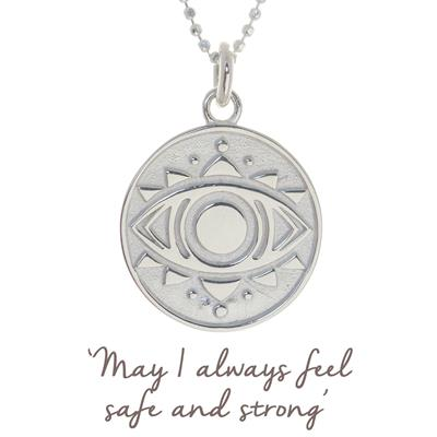 Buy Mantra Evil Eye Disc Necklace in Silver