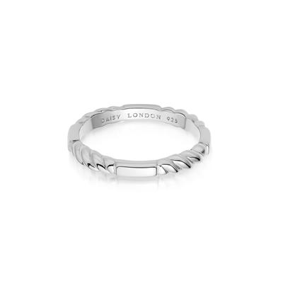 Buy Daisy Silver Stacked Rope Ring (S)