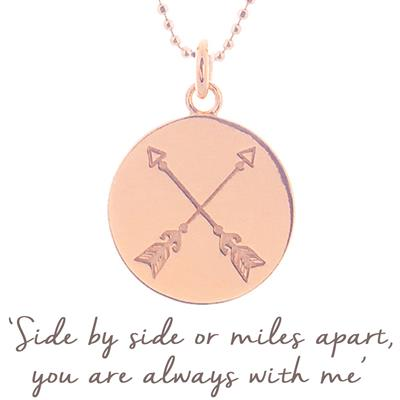 Buy Mantra Friendship Arrow Necklace in Rose Gold