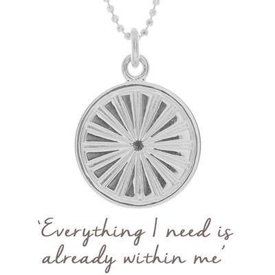 Buy Mantra Sun Rays Disc Necklace in Sterling Silver