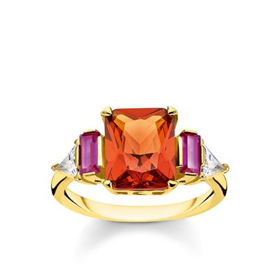 Buy Thomas Sabo Gold Colourful Stone Ring 54