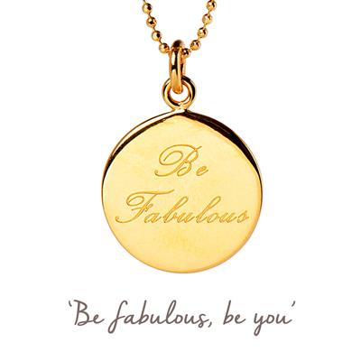 Buy Be Fabulous Mantra Necklace in Gold