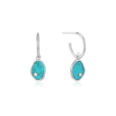Buy Ania Haie Turning Tides Turquoise & Silver Mini Hoop Earrings