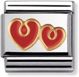 Buy Nomination Red Enamel Double Love Hearts