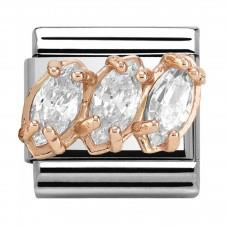 Buy Nomination Rose Gold White CZ Trilogy Charm