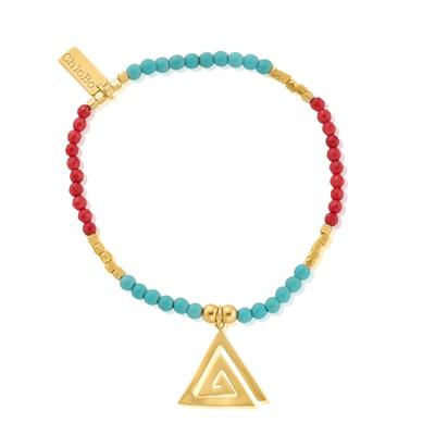 Buy ChloBo Gold, Turquoise & Red Coral Aztec Triangle Bracelet