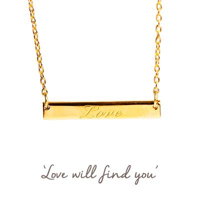 Buy Love Mantra Bar Necklace in Gold
