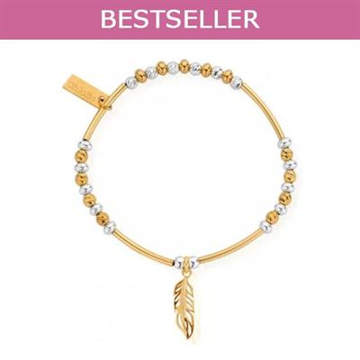 Buy ChloBo Yellow Gold and Silver Sparkle Feather Bracelet