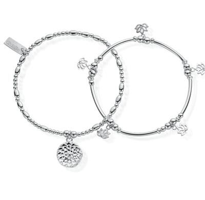 Buy ChloBo Cherabella Purity Set of 2 Silver Bracelets