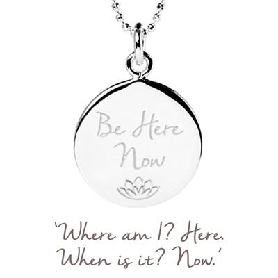 Buy Mantra Be Here Now Disc Necklace in Sterling Silver