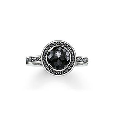 Buy Thomas Sabo Light of Luna Silver and Black CZ Ring, Size 52
